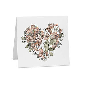 Oh Floral Heart Illustrated Card