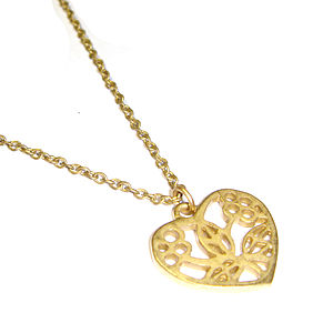 Floral Gold Heart Token Pendant Necklace - necklaces & pendants