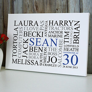 Personalised 30th Birthday Word Art Print - paintings & canvases
