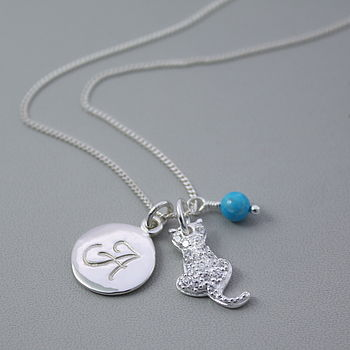 Cat Charm Personalised Silver Necklace