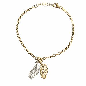 Gold Feather Charm Bracelet - charm jewellery