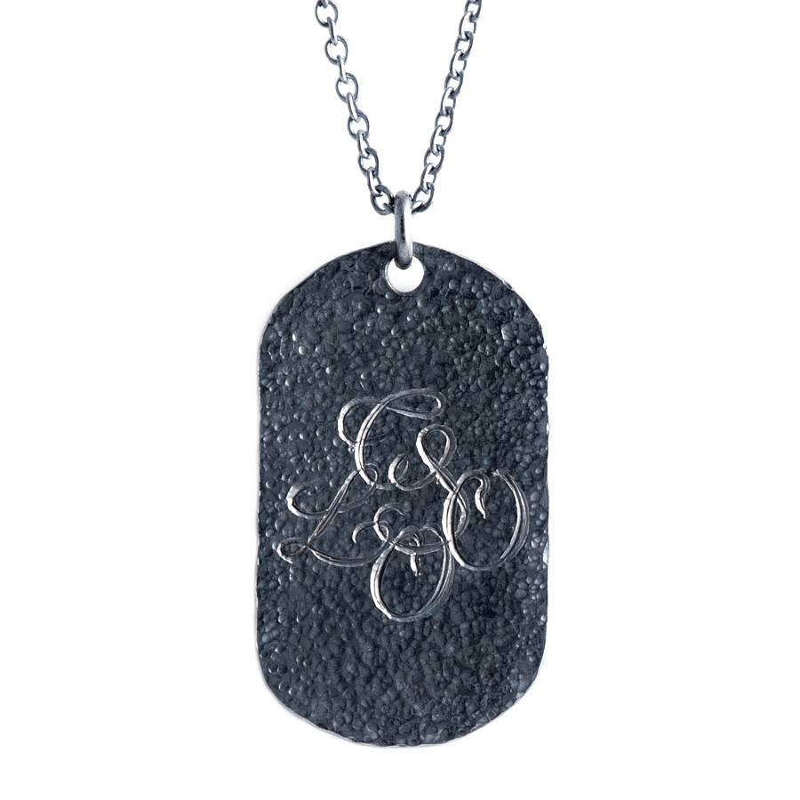 Personalised Oxydised Military Tag Necklace