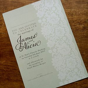 Vintage Lace Wedding Stationery Range - save the date cards