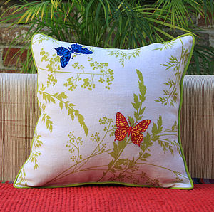 Butterflies And Leaves Cushion Cover - embroidered & beaded cushions