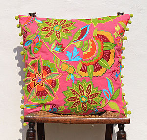 Tropical Delights Fruit Cushion Cover - embroidered & beaded cushions