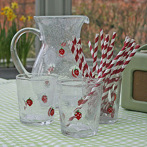 Large Glass Jug With Strawberry Design - crockery & chinaware