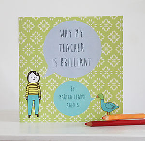 Personalised 'My Teacher Is Brilliant' Book - keepsakes