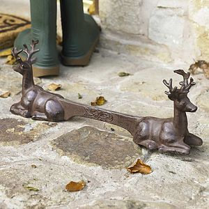 Cast Iron Garden Stag Boot Scraper - art & decorations