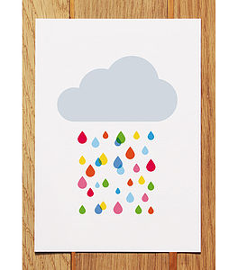 Multicoloured Rain Cloud Postcard - shop by category