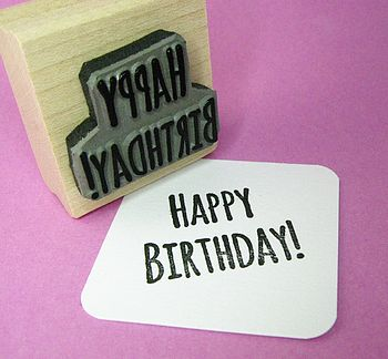Small Happy Birthday Rubber Stamp