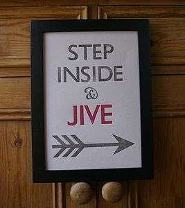 Letterpress Print: Step Inside And Jive - posters & prints