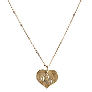 18ct gold vermeil heart pendant on a gold plated bead chain