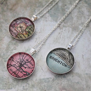 Personalised Vintage Map Necklace