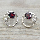 Garnet & White Sapphire Stud Earrings