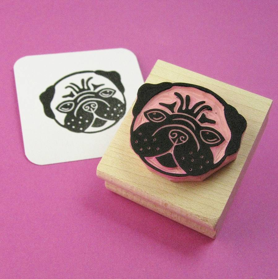 Lovely pug hand carved rubber stamp by skull and cross