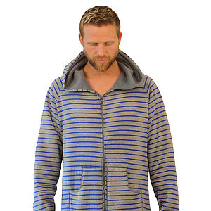Striped Men's Zip Up Onesie