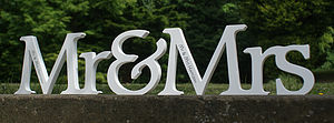 Large Personalised 'Mr & Mrs' Wooden Letters