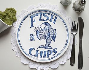 'Fish & Chips' Chippy Plate - crockery & chinaware