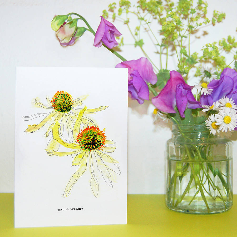Hello Yellow Floral Echinacea Greetings Card