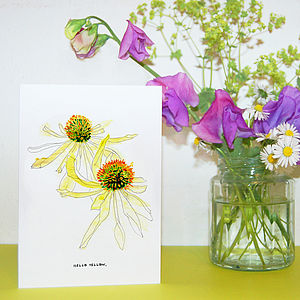 'Hello Yellow' Floral Greetings Card - cards & invitations