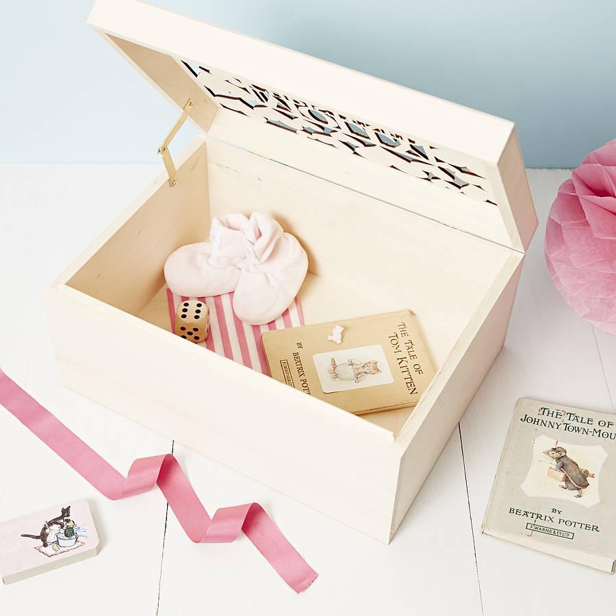 Personalised Baby Gifts Keepsake Boxes : Personalised heart baby keepsake box by sophia victoria