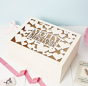 Personalised Heart Baby Keepsake Box - keepsake boxes