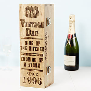 Personalised Fathers Day Oak Bottle Box - gift bags & boxes