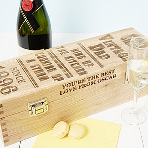 Personalised Vintage Dad Oak Bottle Box - drink & barware
