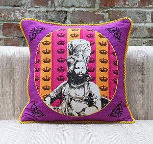 Maharaja In His Darbar Cushion Cover