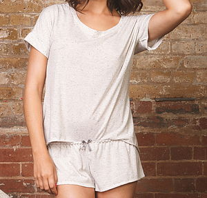 Cream And Grey Marl T Shirt And Short Set - lingerie & nightwear