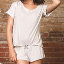 Cream And Grey Marl T Shirt And Short Set