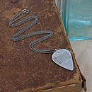 British Flag Stamp Silver Plectrum Necklace