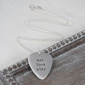 Small Silver Plectrum Ladies Necklace