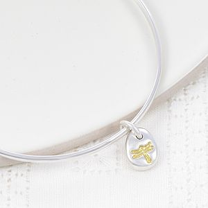 Gold Dragonfly Silver Beanie Bangle
