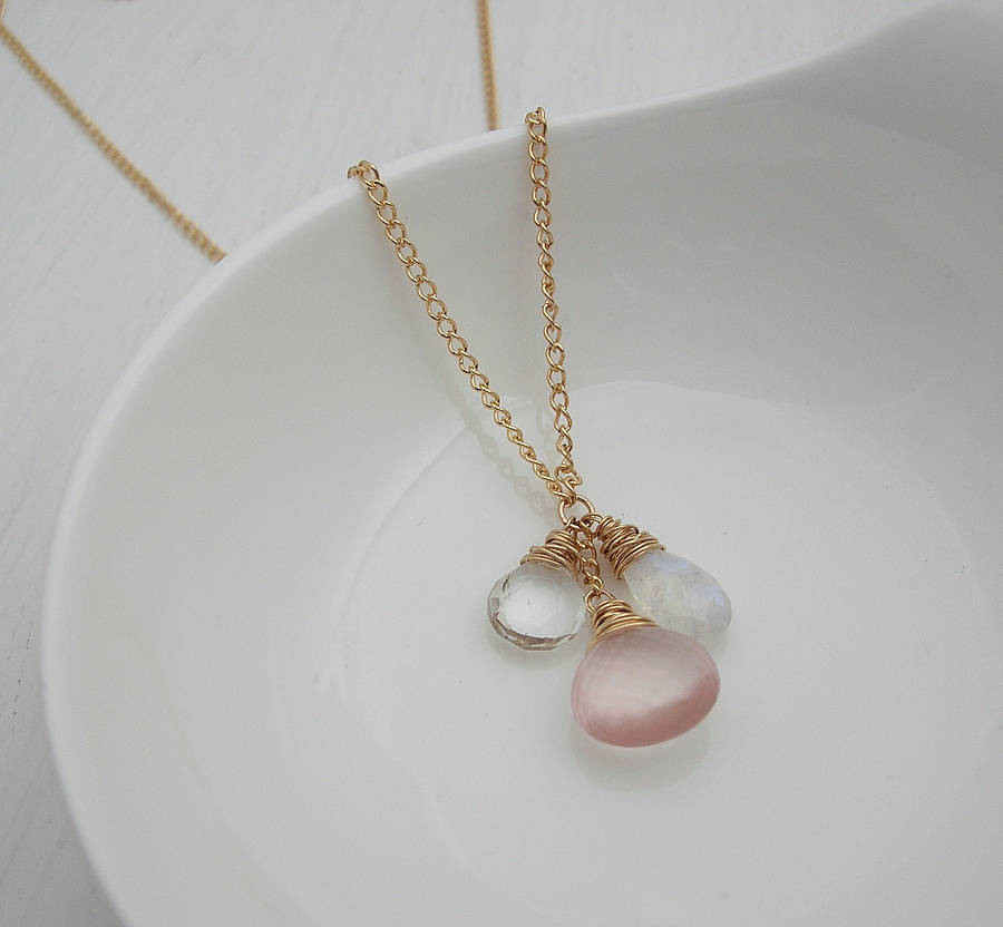 raw jewelry stone crystal quartz rose pin pendant necklace vermeerjewellery pink by