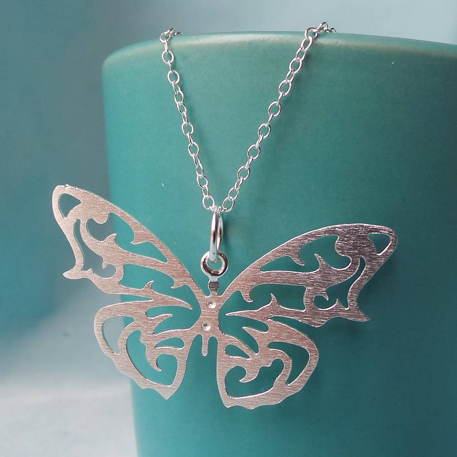 Silver Butterfly Pendant Necklace By Martha Jackson Sterling Silver Notonthehighstreet Com