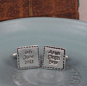 Personalised Stitched Silver Cufflinks - men's jewellery