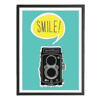 'Smile' Vintage Style Camera Art Print