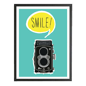 'Smile' Vintage Style Camera Art Print - gifts for photographers