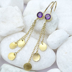 Amethyst Earrings With 18ct Gold Petals - sparkle into 2014