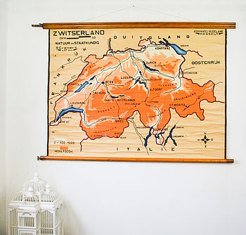 Vintage Pull Down Map Switzerland