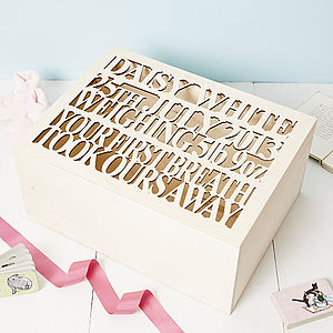 Large Personalised Baby Keepsake Box - toy boxes & chests