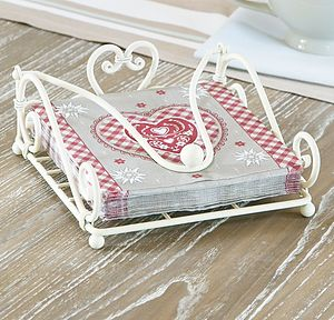 Country Cream Cast Iron Napkin Holder