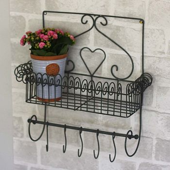Decorative Wirework Shelf With Hanging Hooks
