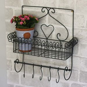 Decorative Wirework Shelf With Hanging Hooks - furniture