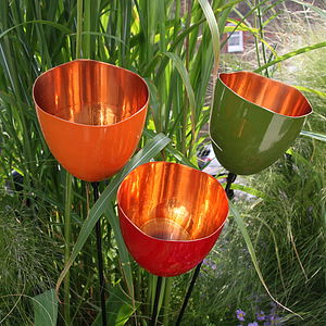 Three Coloured Copper Tulip Garden Sculptures - christmas lights