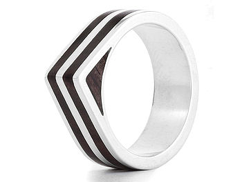 'Dual Edge' Silver And Wood Ring