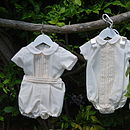 Pleated Christening Or Baptism Romper Suit