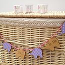 Personalised Birth Date Wooden Lilac Bunting