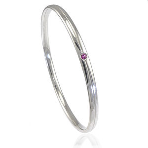 Sterling Silver Bangle With Gemstone Accent - bracelets & bangles
